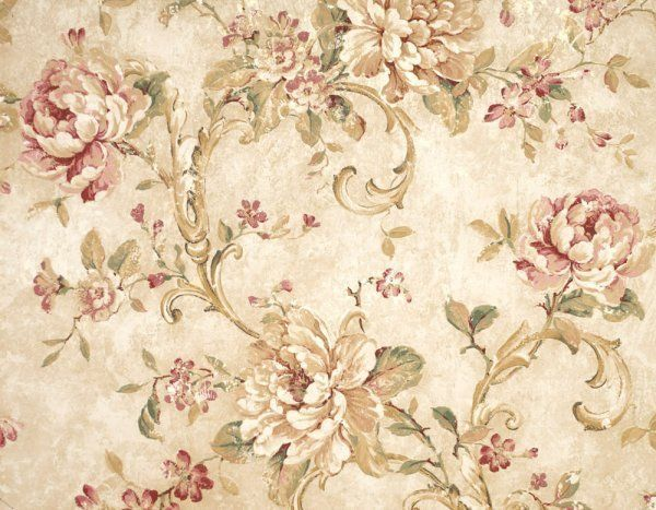 Brewster wallcoverings cabbage rose pink green cream for Cream rose wallpaper