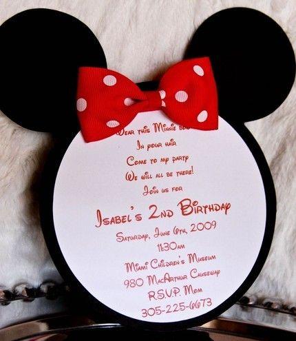 Minnie Mouse Invitation Idea Kids Birthday Party Ideas Pinterest
