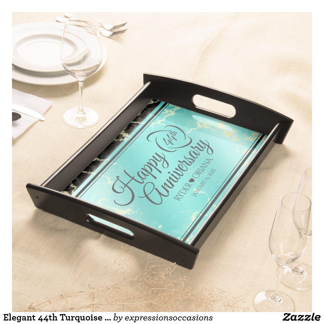 Elegant 44th Turquoise Wedding Anniversary Serving Tray
