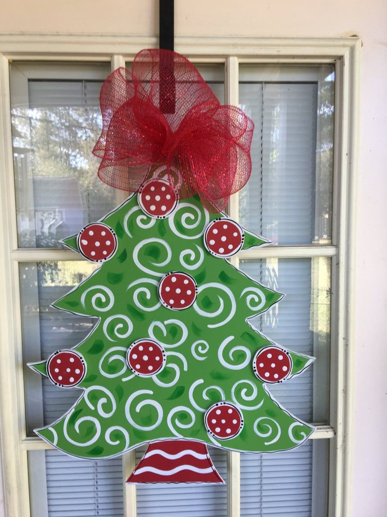 Christmas Decorations Front Door Decor Door Hanger Wreath Door Sign In 2020 Christmas Door Hanger Door Decorations Front Door Decor