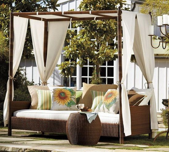 Romantic outdoor canopy bed