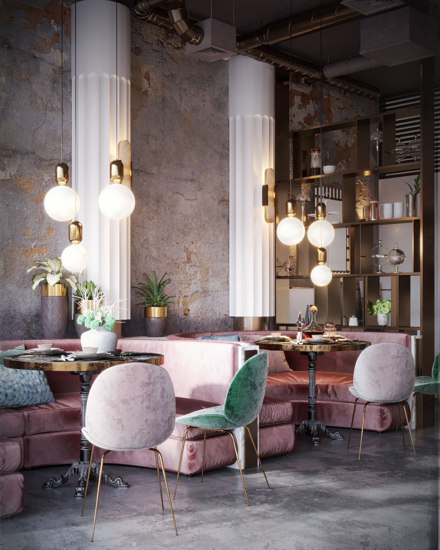 WANDERLUSTING: contemporary restaurant design, so pink & pretty #artdecointerior
