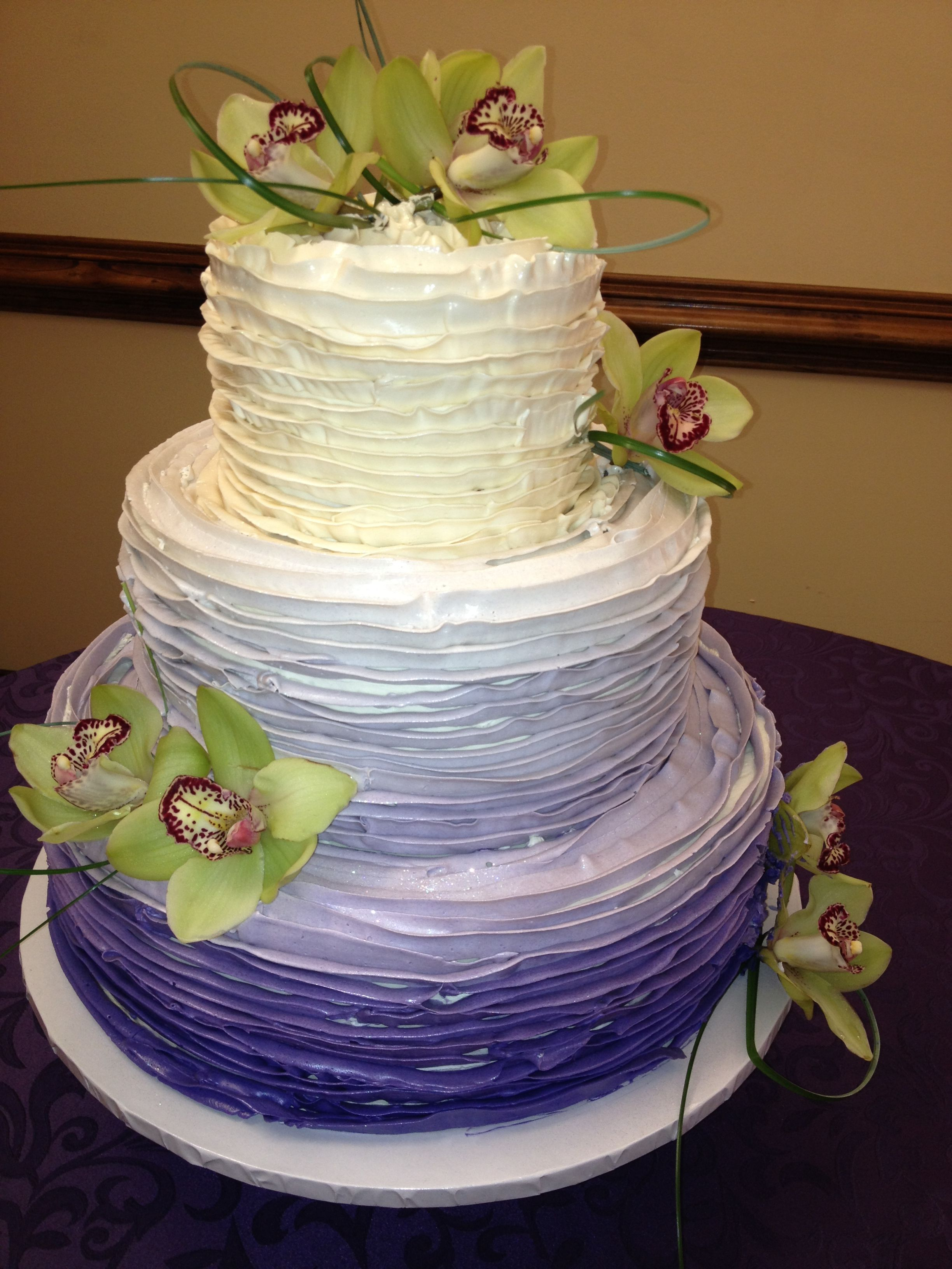 purple ombre cake in buttercream
