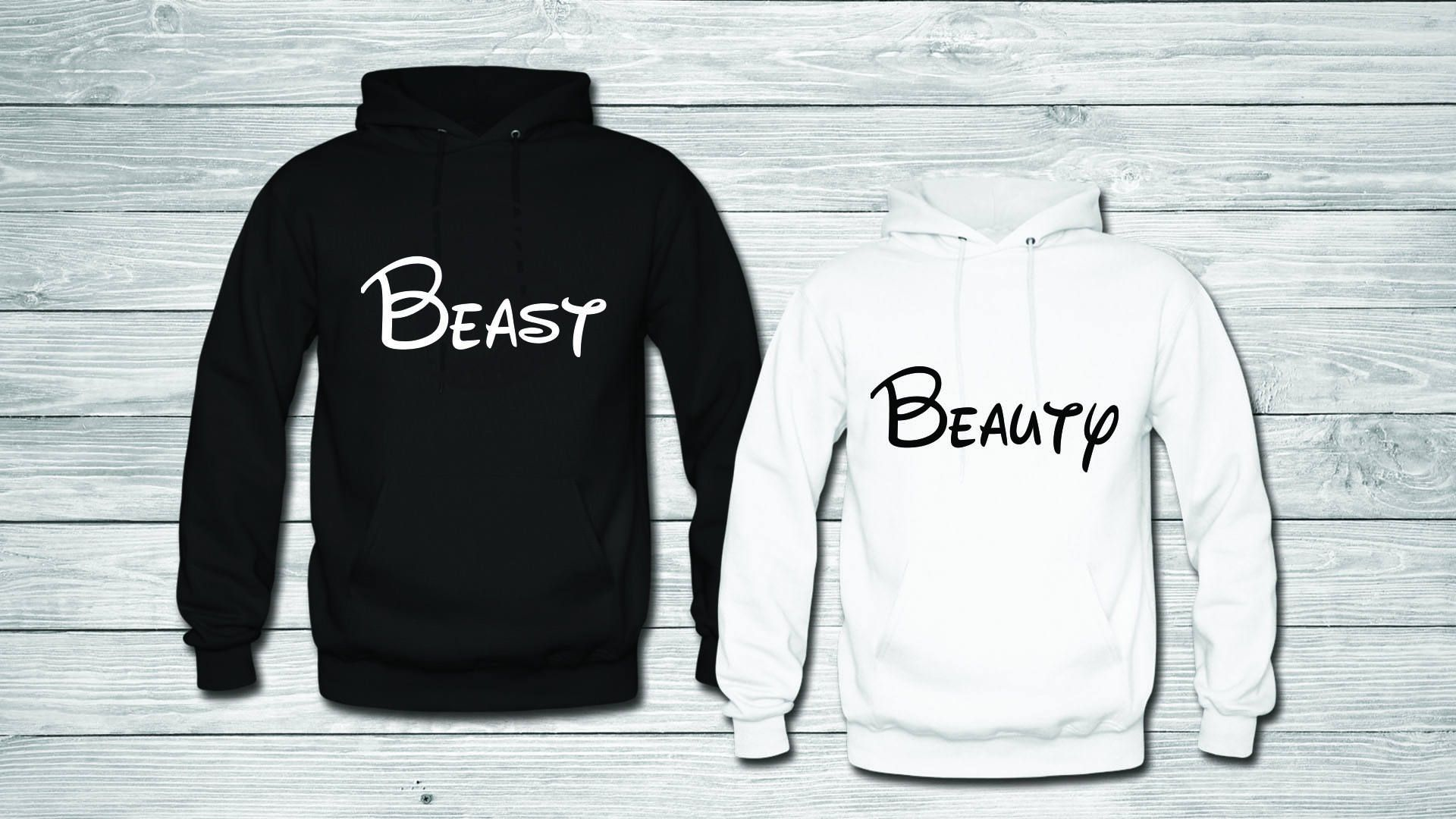2d3ac6587a BEAST AND BEAUTY Couples hoodie / Couples hoodies / Couple hoodies by  boutiqueRus on Etsy