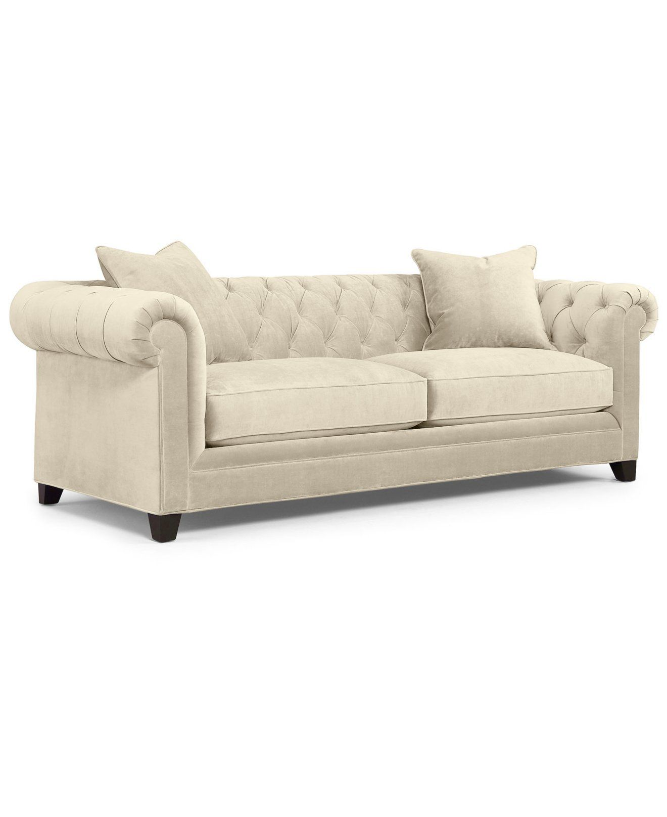 Tribecca Home Knightsbridge Beige Linen Tufted Scroll Arm Chesterfield Sofa Multi Use Set Martha Stewart Collection Saybridge 92 Quot Fabric
