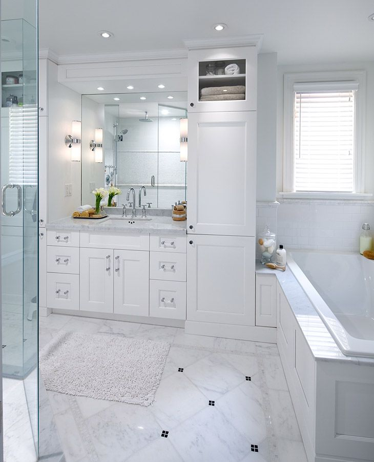 White Bathroom With Marble Tile Love The Small Window At
