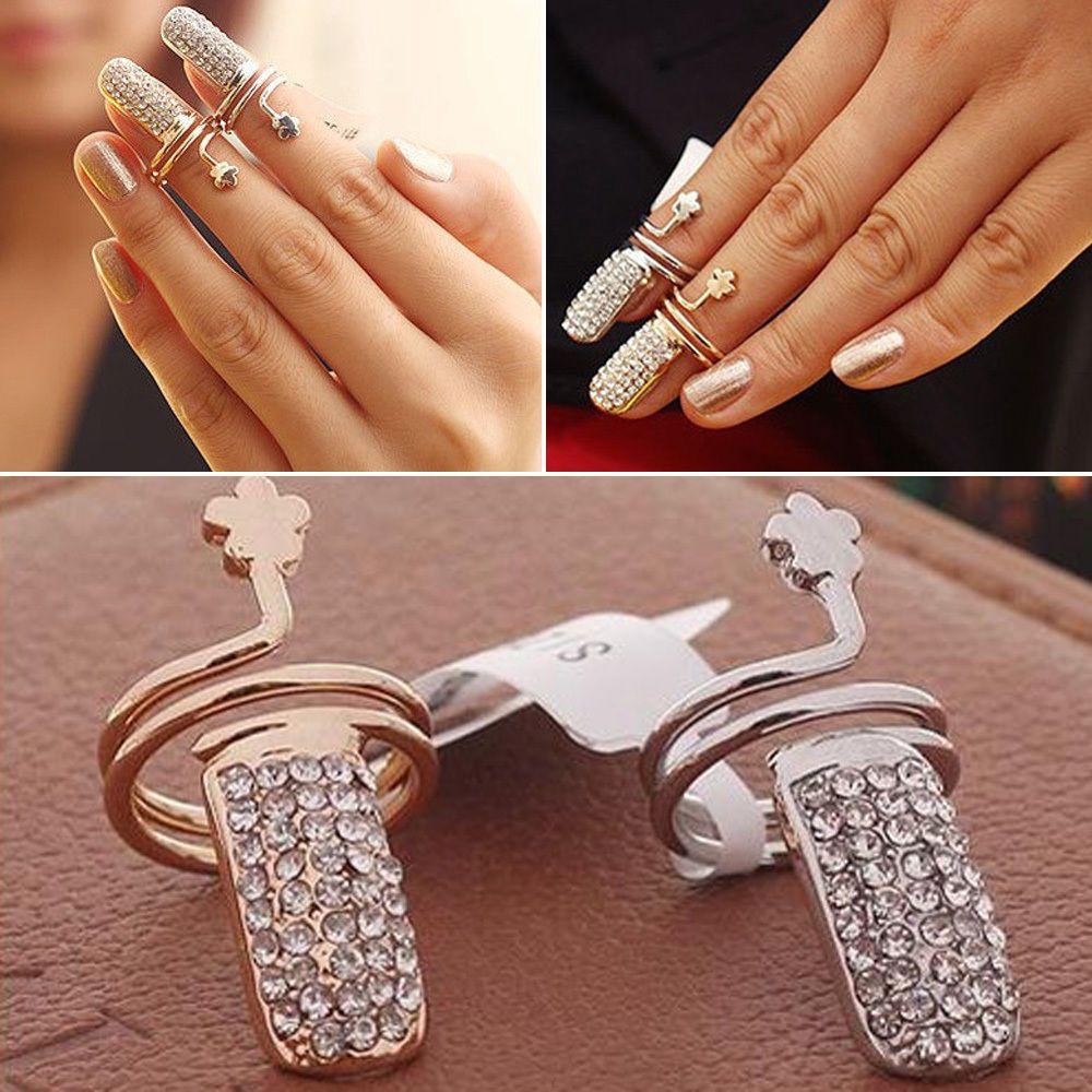 1Pc Charms Women Fingernail Jewelry Crystal Rhinestone Ring Silver ...