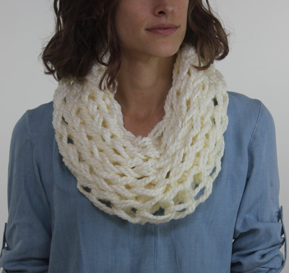 Large Cowl Scarf / Fleece / Arm Knitted | Arm knitting ...