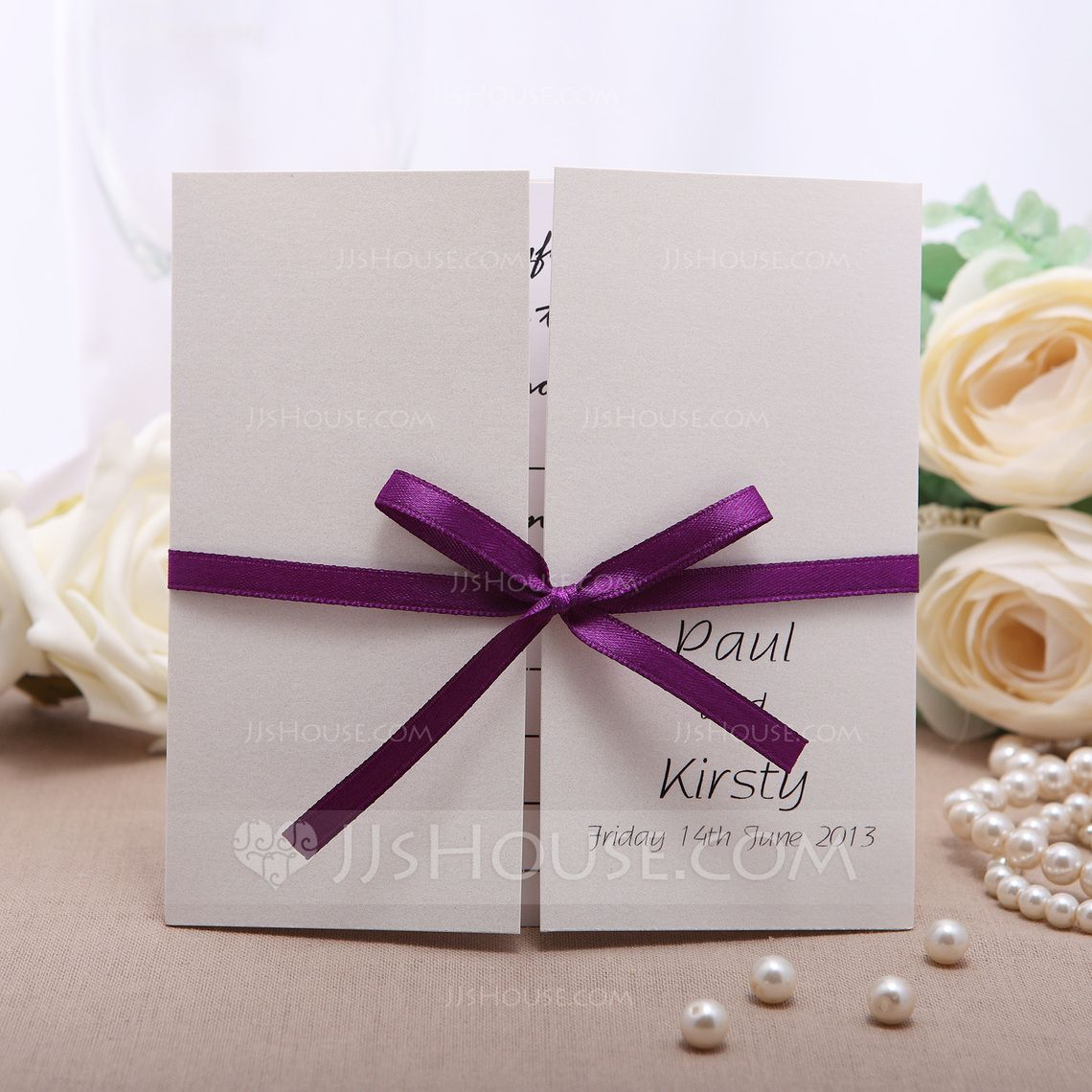 Personalized Formal Style GateFold Invitation Cards With Ribbons – Fall or Winter Theme Invitation Cards