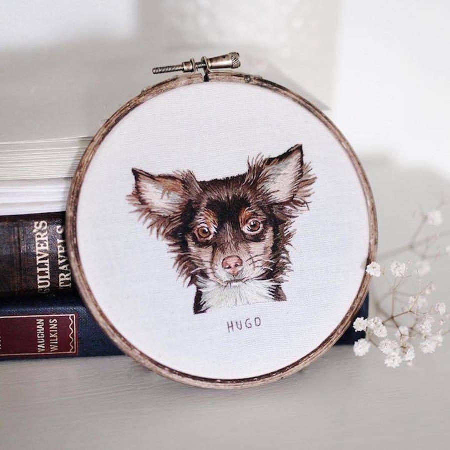Perro retrato realista bordado con aguja e hilo   Hand embroidery ...
