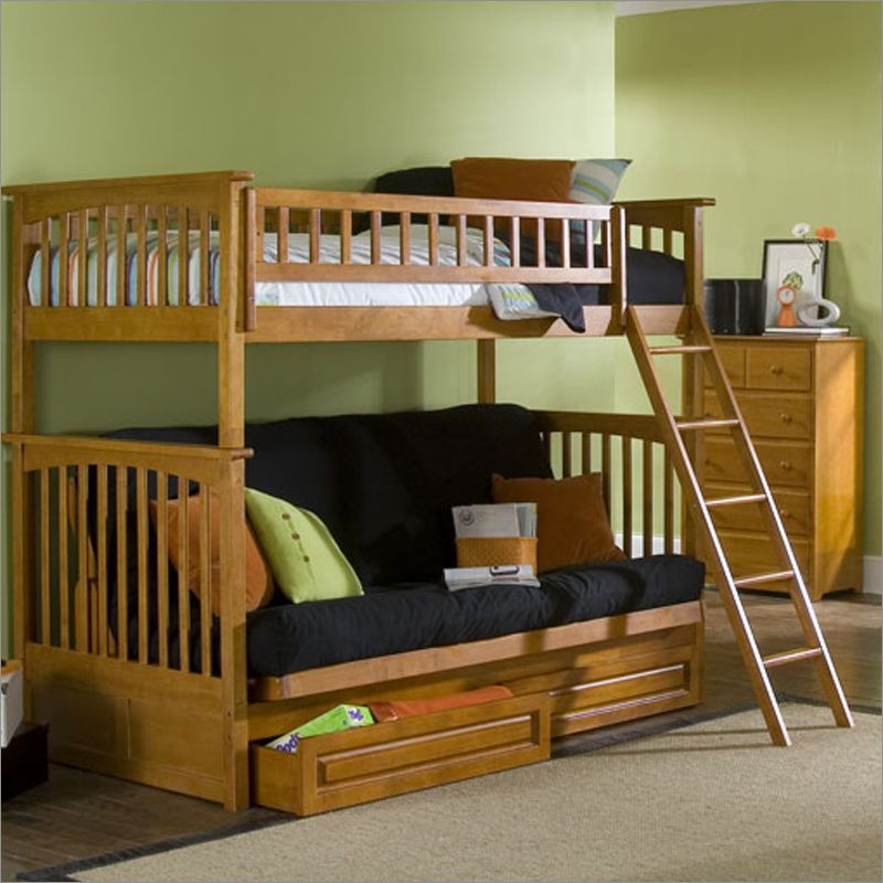Columbia Style Twin Over Futon Bunk Bed With Metal Frame And Drawers In Caramel Latte