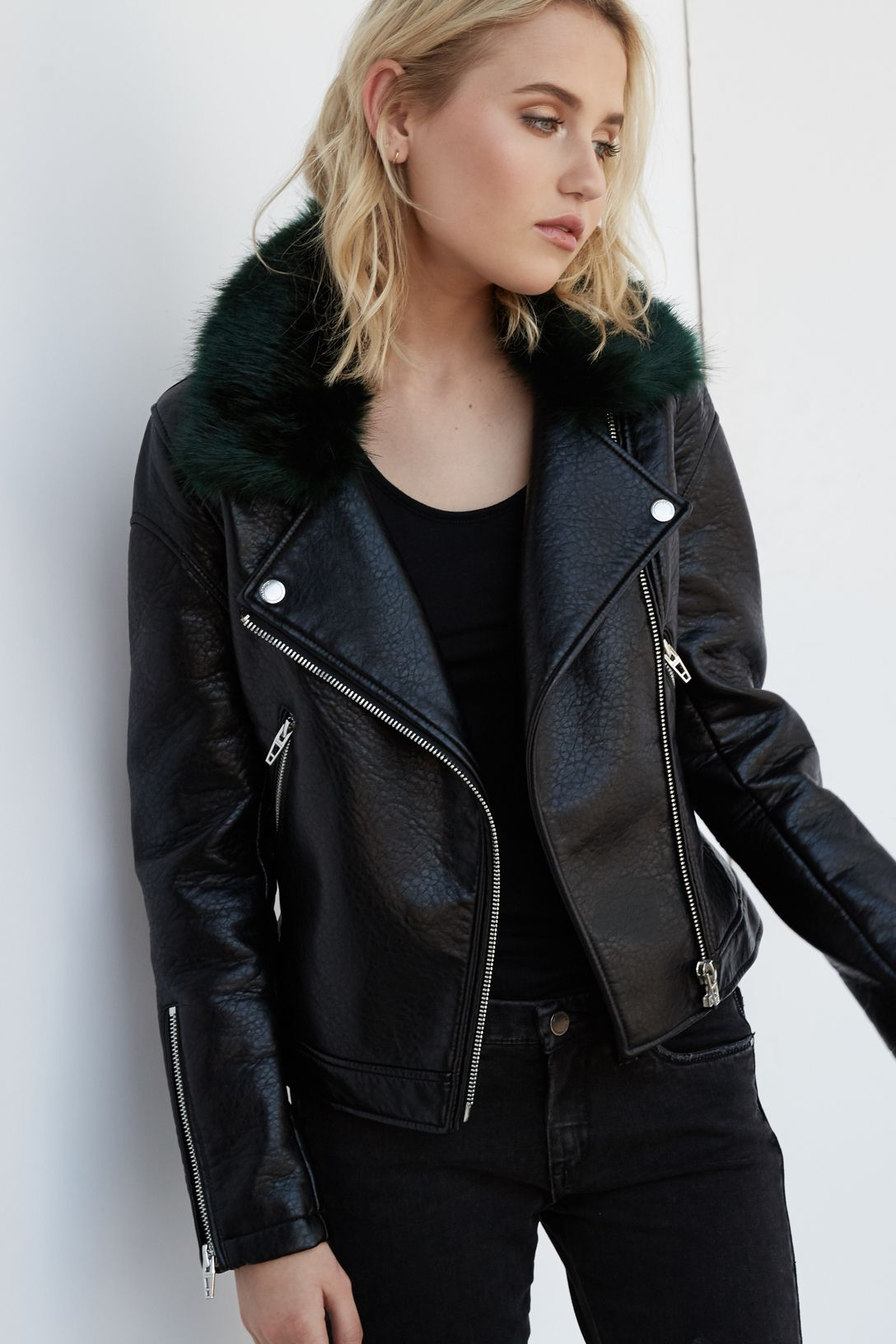 Faux fur and vegan leather jacket from Blank NYC