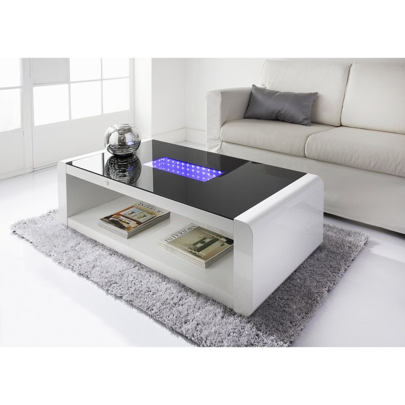 Black Glass Smart Lamp Table