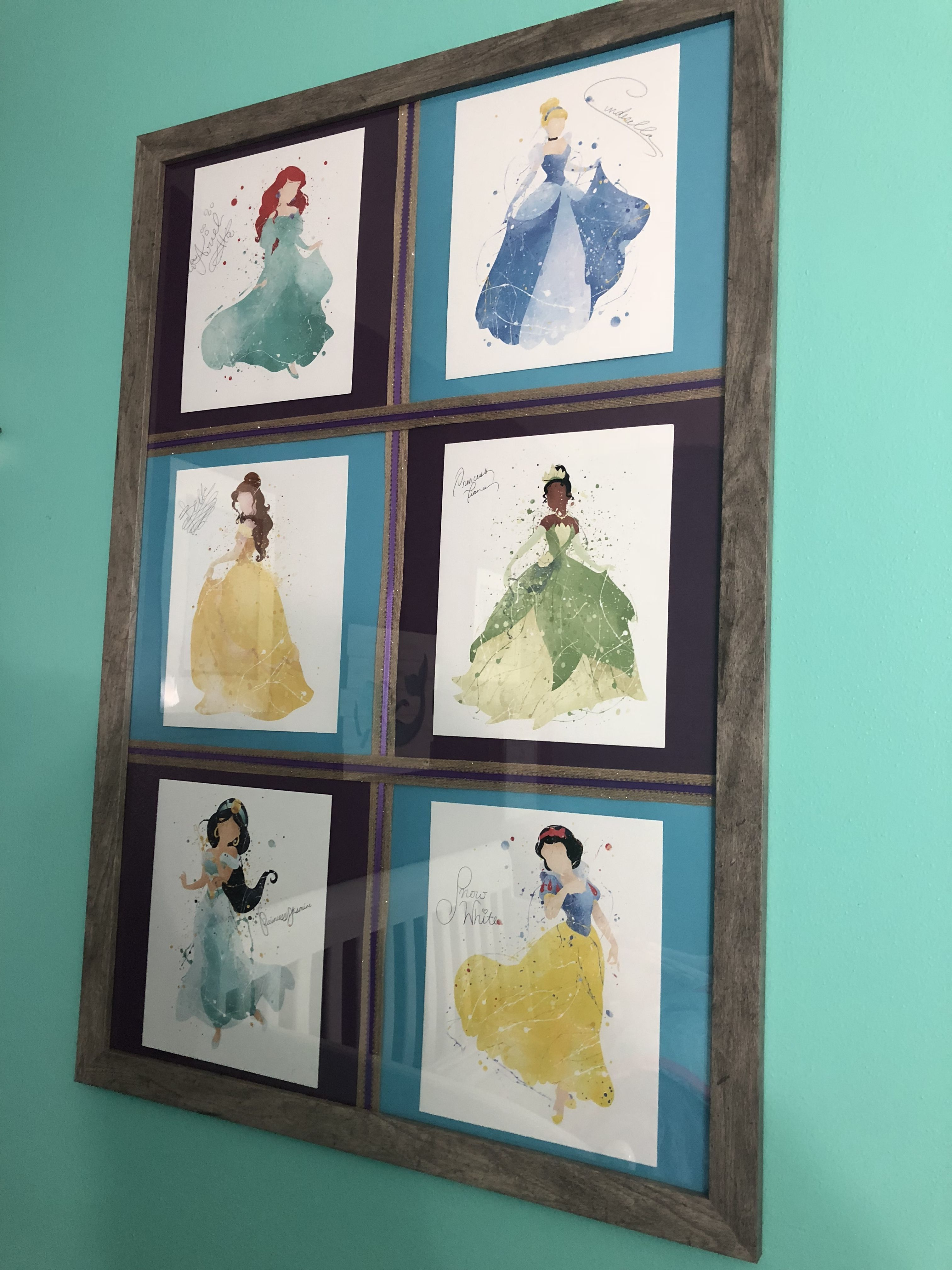 Disney Princesses art with Princess signatures