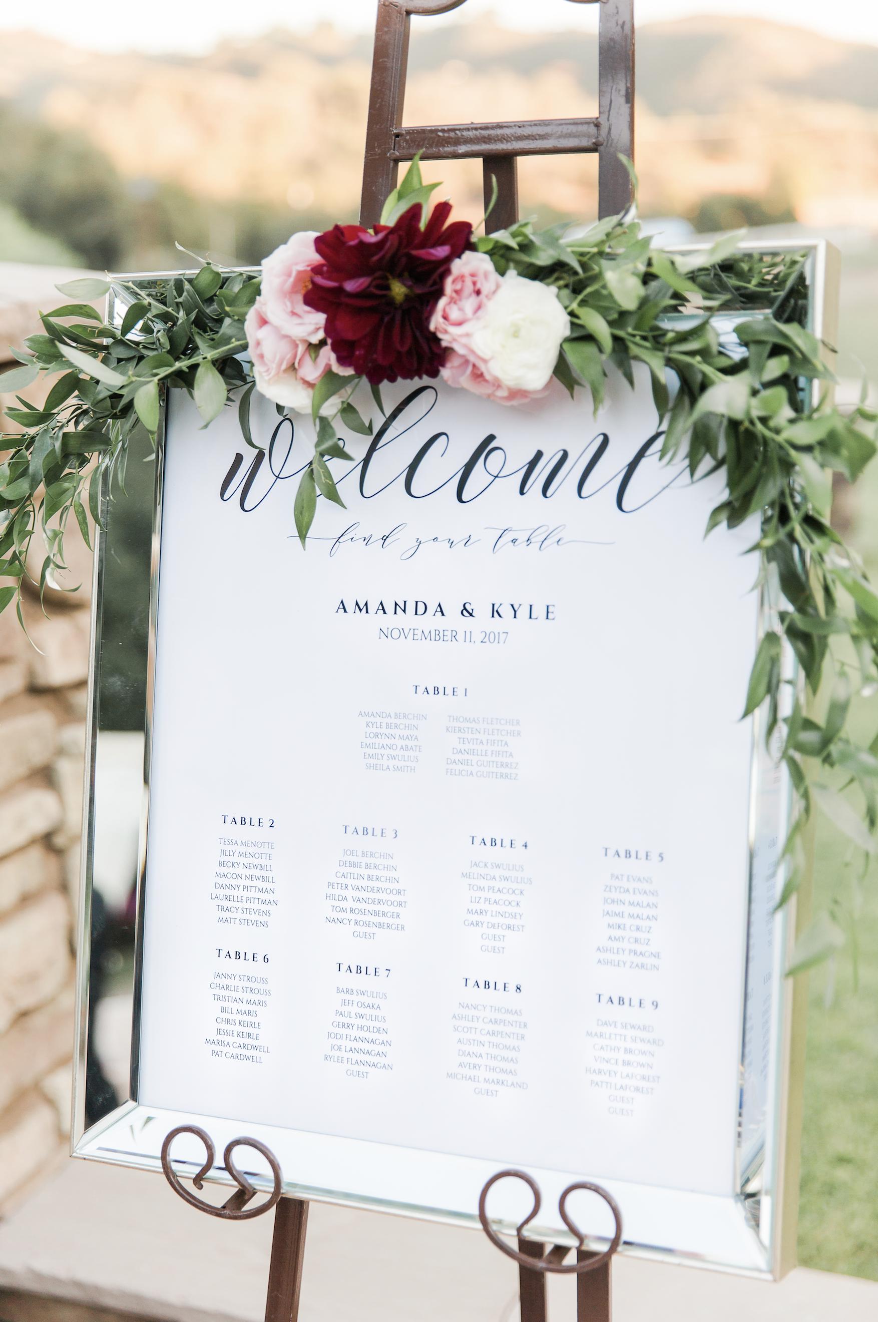 Circle Oak Ranch Temecula Wedding Amanda Kyle Tylerchasephotography Com Seating Chart Wedding Wedding Welcome Signs Floral Wedding