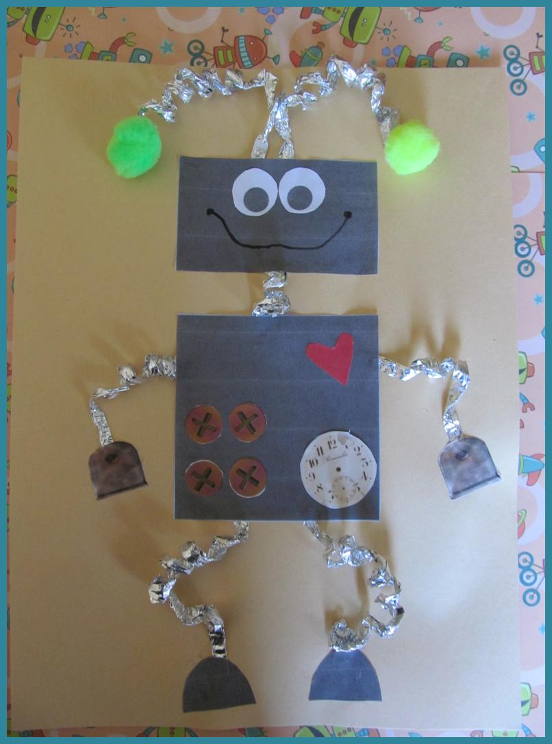 de kinderen gaan een robot maken. dit is een voorbeeld we laten de kinderen daarna zelf een robot maken.   dit hoort bij beeldende expressie omdat de kinderen gaan knutselen