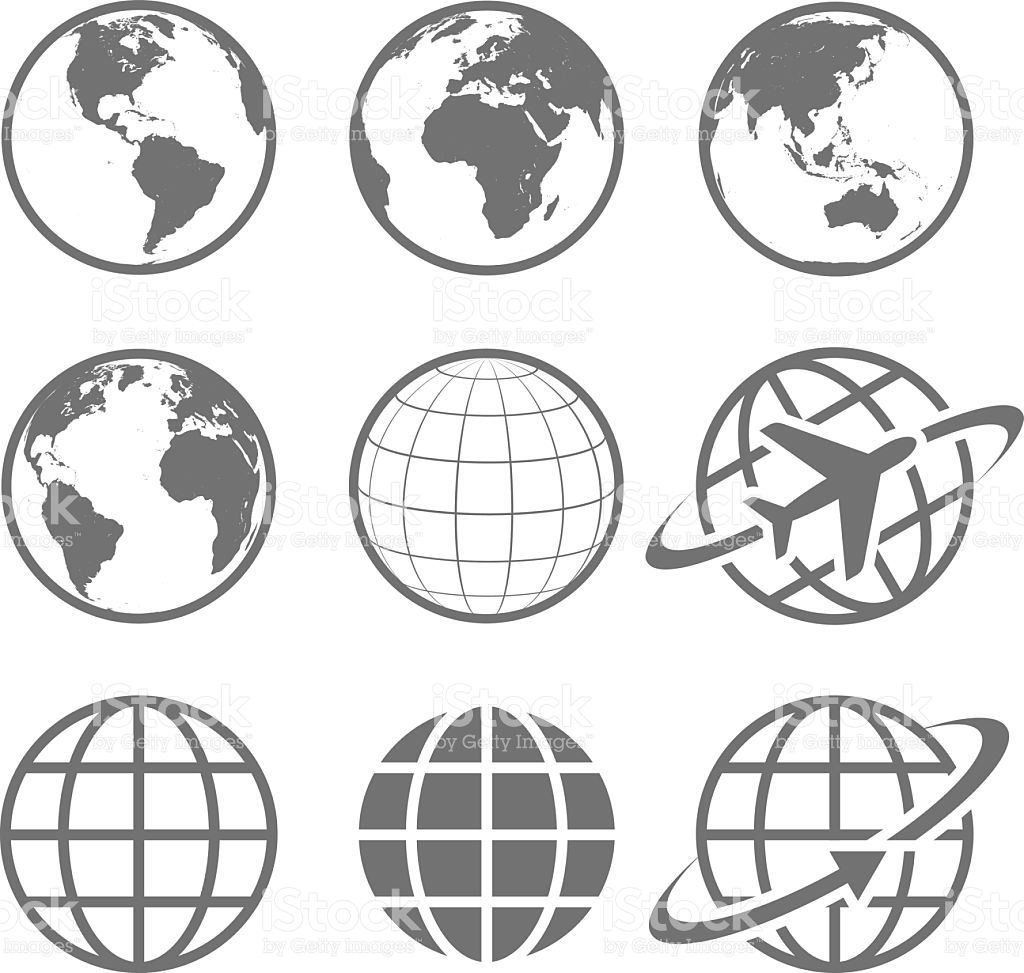 Set of nine simple Earth globe icons. Vector file is