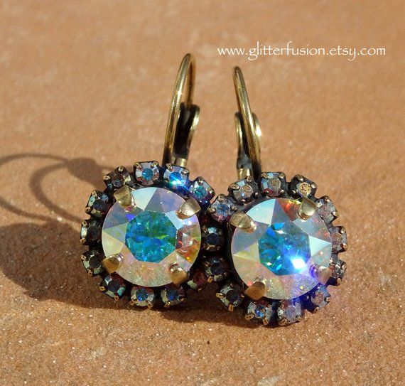 880c6d011 Aurora Borealis Swarovski Crystal Halo Statement Earrings, Iridescent  Rainbow Crystal Lever Back Earrings, Neutral AB Bridesmaid Earrings