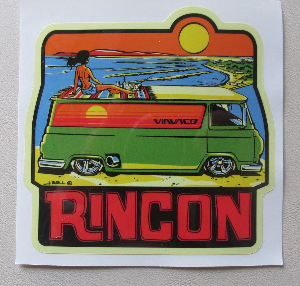 Vintage 1960 S Style Rincon Travel Surfing Surfer Van Econoline Sticker Decal Surf Logo Vans Stickers Vintage Surf [ 953 x 1000 Pixel ]