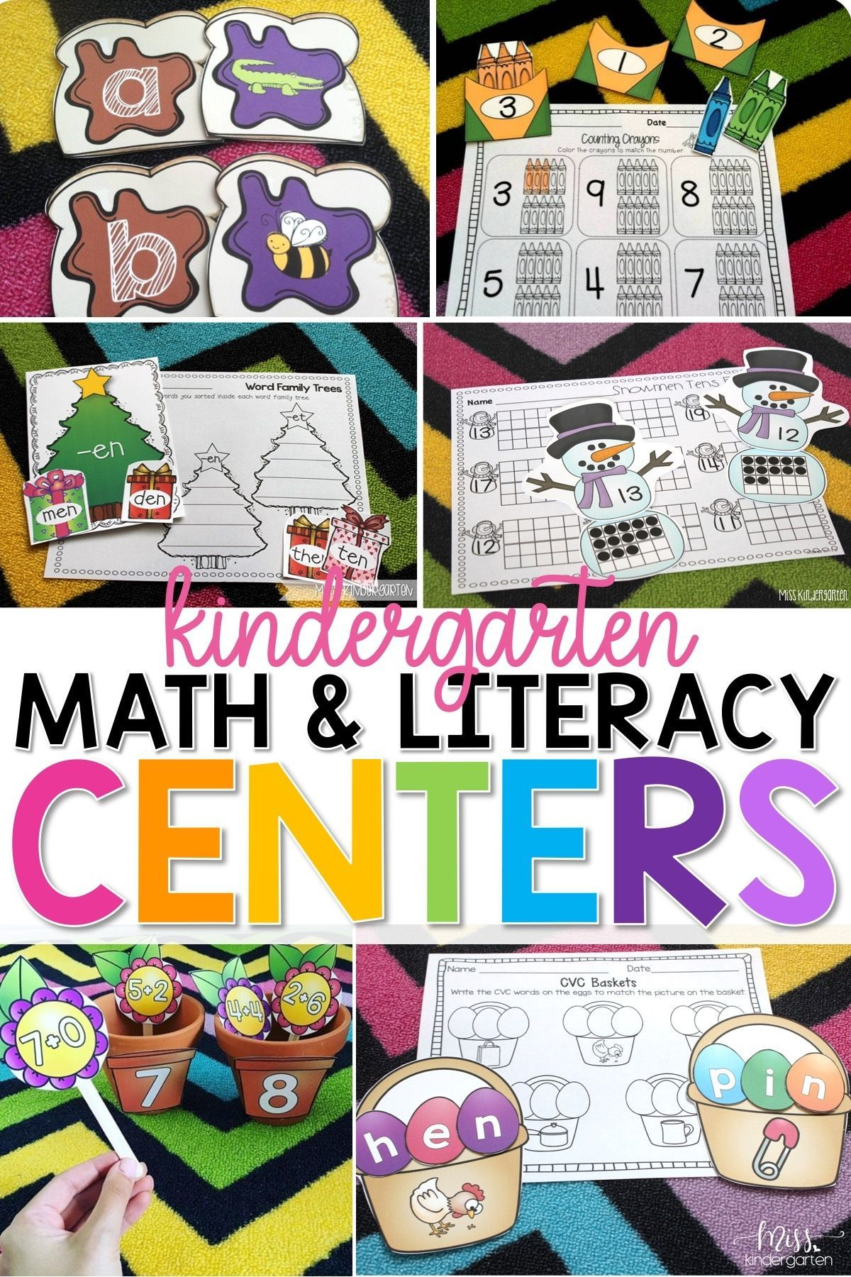 Math And Literacy Centers For The Year Kindergarten