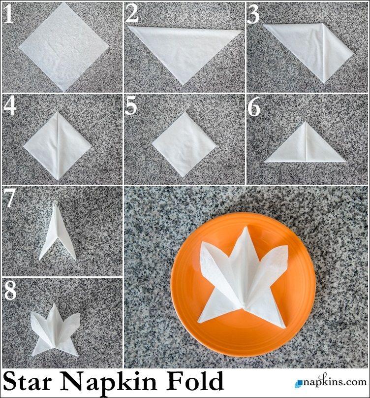 Star Napkin Fold Paper Napkin Folding Fancy Napkin Folding