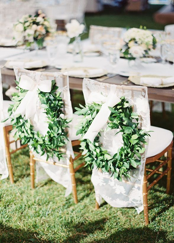 Wedding Chair Covers For Bride And Groom High Pictures Lush Green Garlands Look Lovely Atop Lace Decorations Chairs