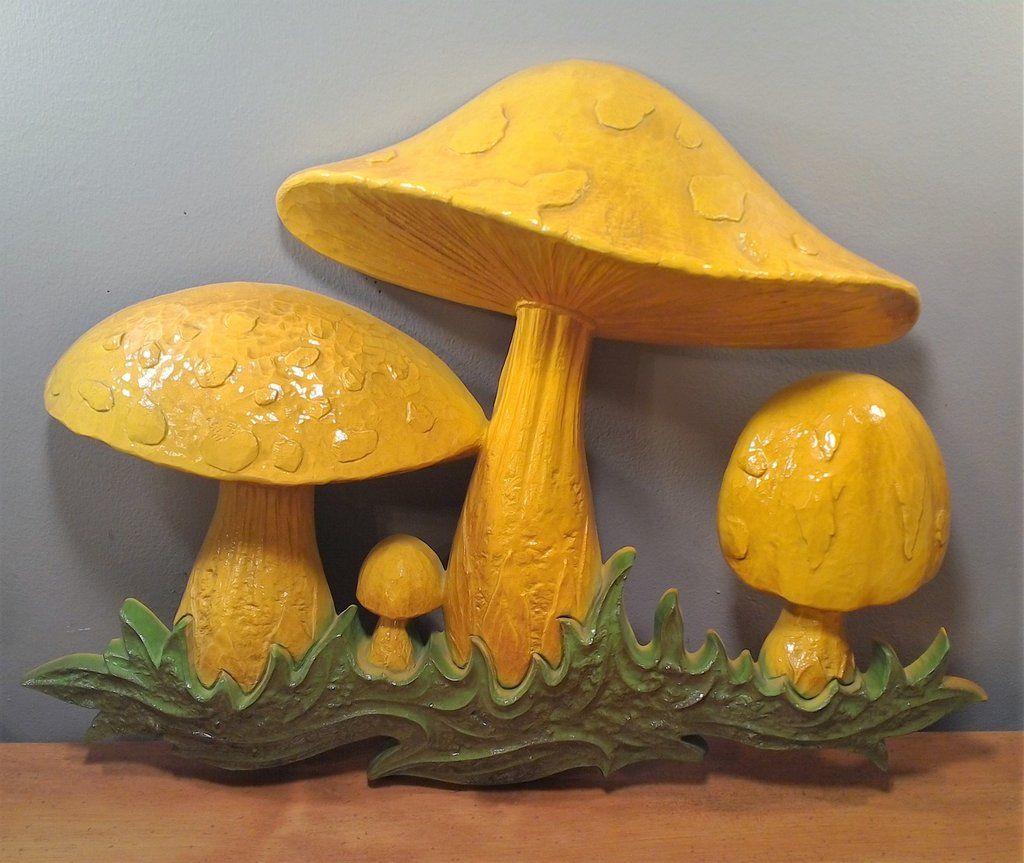 Vintage Plastic Mushroom Wall Hanging Decor 1970 Dart Ind Yellow ...