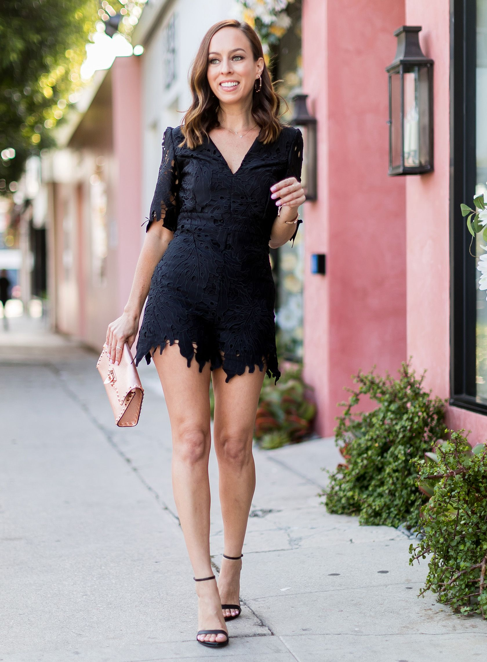 8b78b8ed3d51 Sydne Style wears bardot black lace romper for summer date night outfit  ideas  romper  lace  datenight  summeroutfits
