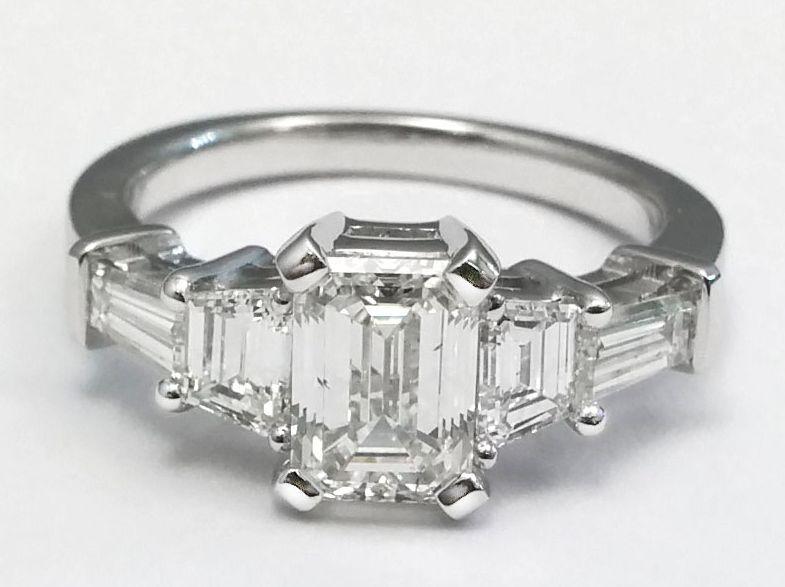 Engagement Ring -Emerald Cut Diamond Engagement Ri