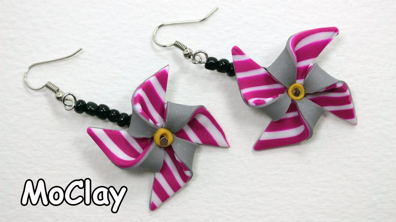 How to make DIY Pinwheel earrings Polymer clay tutorial