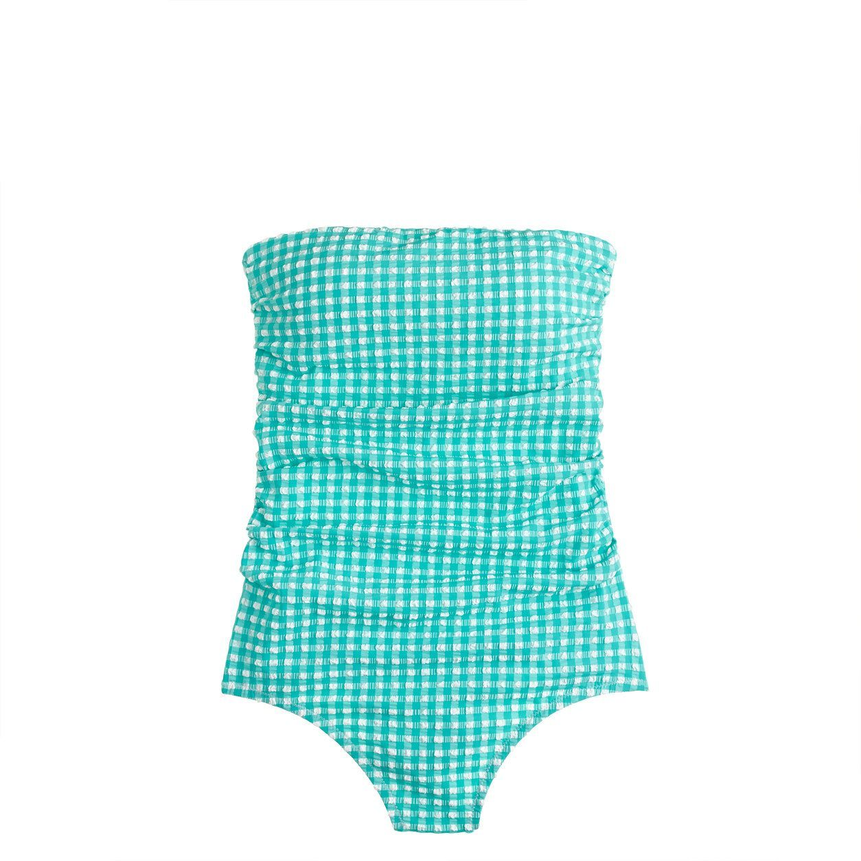 1c74ca4c88 J.Crew Womens Gingham Ruched Bandeau One-Piece Swimsuit (Pacific Turquoise   Ivory Kl939