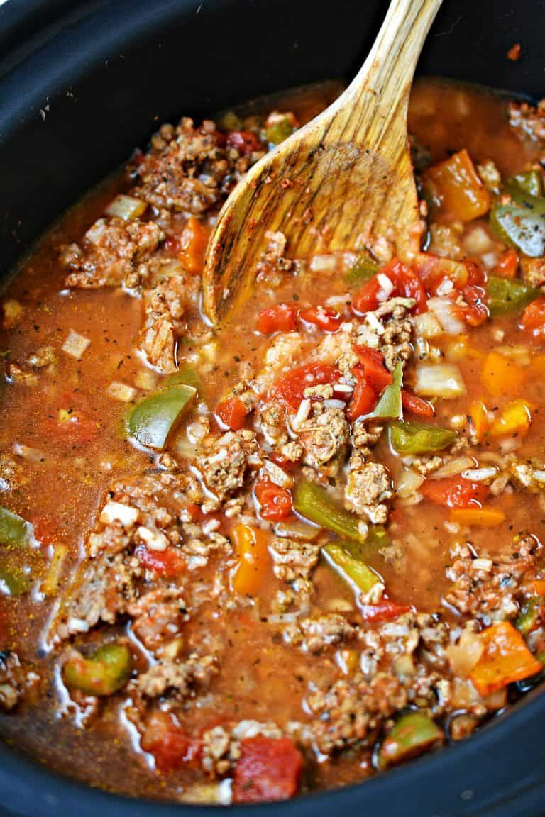 Stuffed Pepper Soup In The Slow Cooker Recipe In 2020 Slow Cooker Stuffed Peppers Stuffed Pepper Soup Stuffed Peppers