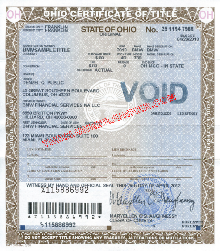 how to get a memorandum title in ohio
