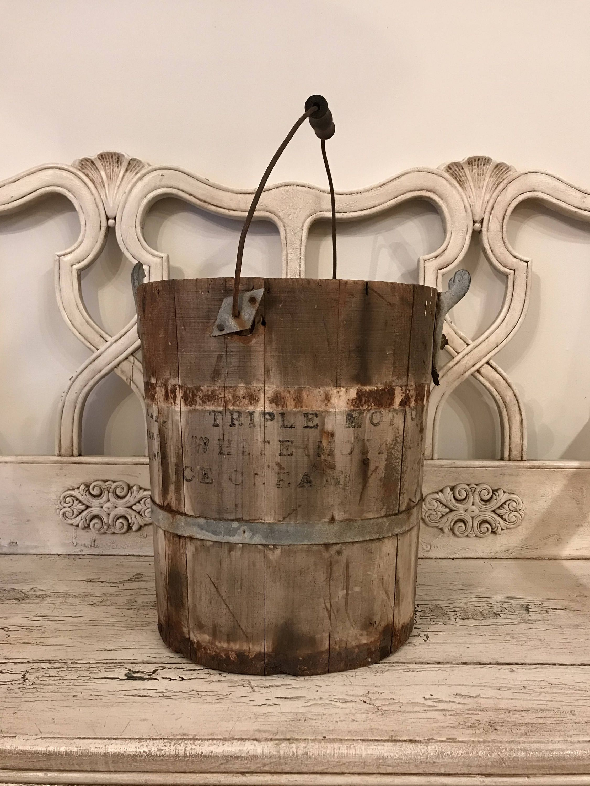 Vintage Ice Cream Maker Late 1800s Rustic, Farmhouse