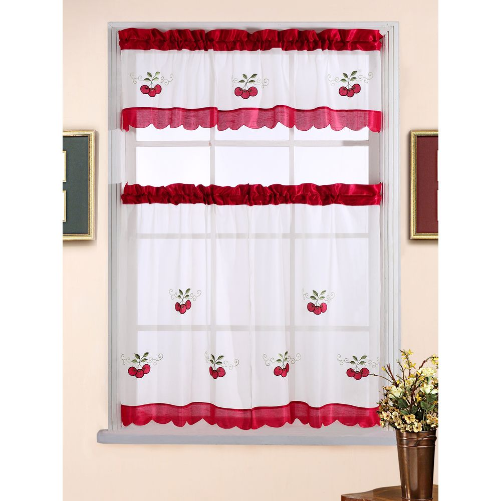 Piece sweet cherry tiered curtain set overstock shopping top
