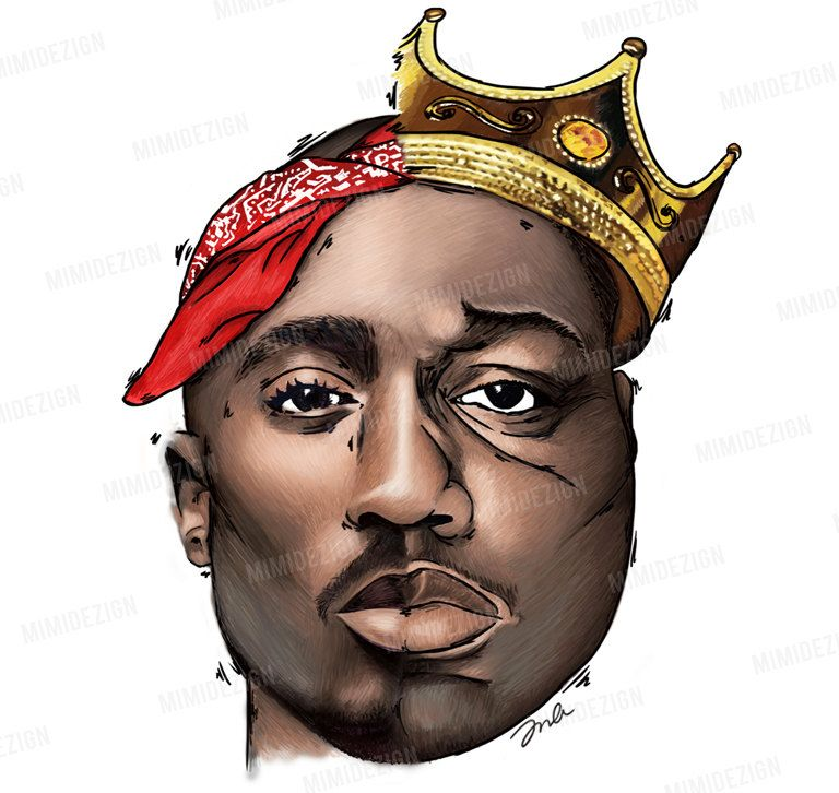Tupac Shakur Art / Biggie Smalls Art / Original half 2pac ...