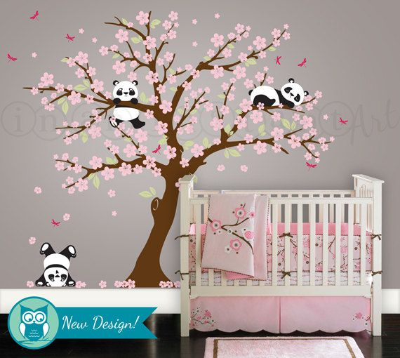 panda and cherry blossom tree wall decal, panda wall decal, blossom