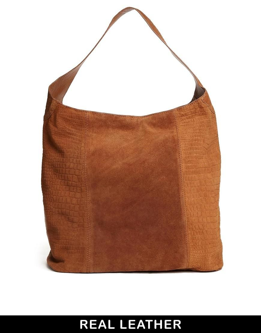 8979dcf23391 River Island | River Island Tan Croc Suede Slouch Bag at ASOS | Bags ...