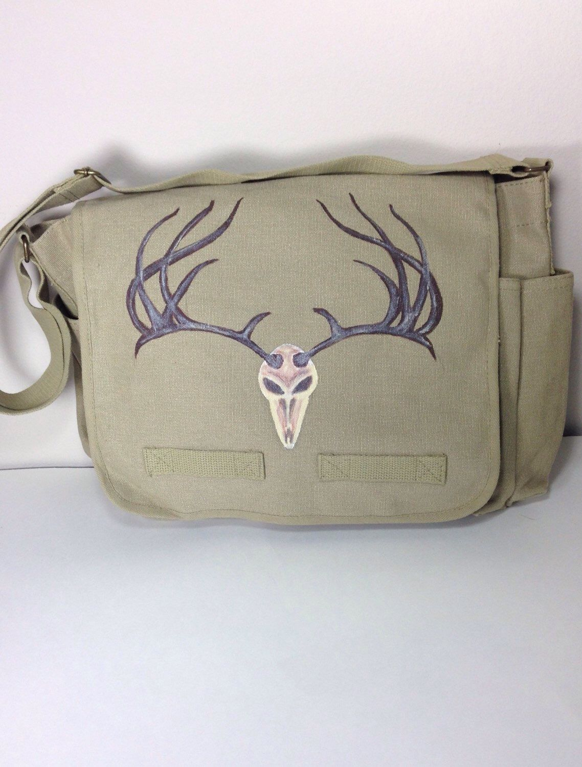 Everest Large Cotton Canvas Messenger Bag with Hand Painted Deer Horns  6329145221b48