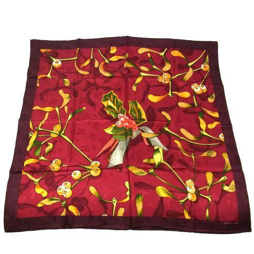 Vintage HERMES Jacquard silk Scarf NEIGE D'ANTAN  red colourway  ...hollyleaf design