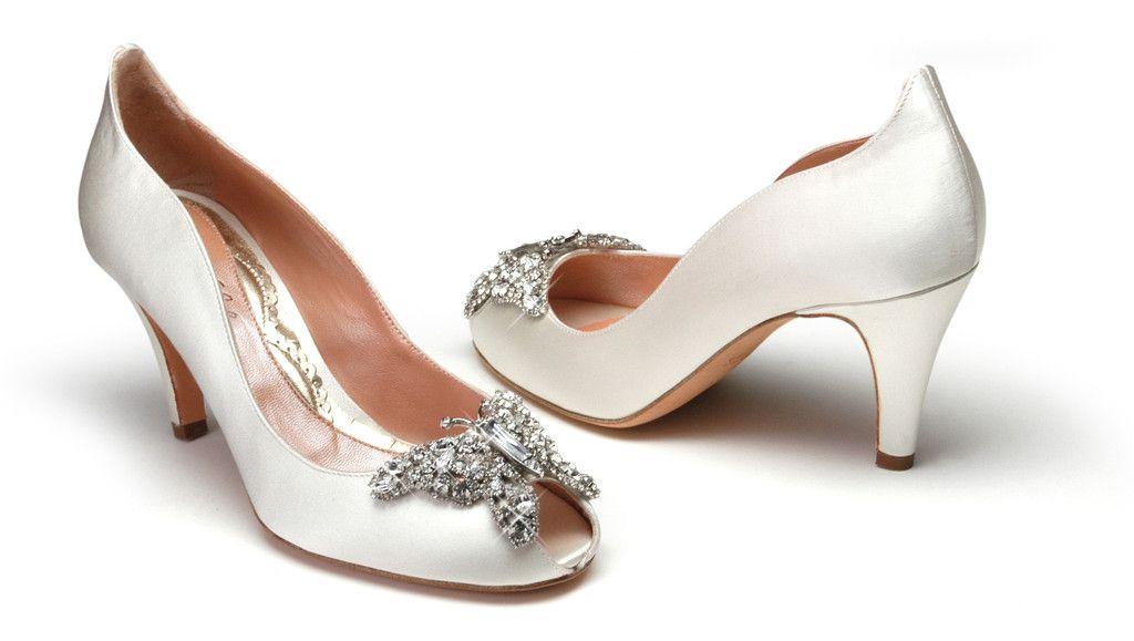 Farfalla 70mm Heel In Ivory Satin Shoes Aruna Seth Wedding Shoes Heels Designer Wedding Shoes Kitten Heel Wedding Shoes