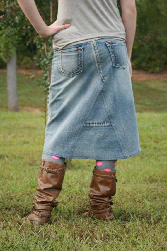 500fc94868a3 Denim Skirt Knee Length Midi Skirt Available in Plus Size Skirt Jean ...