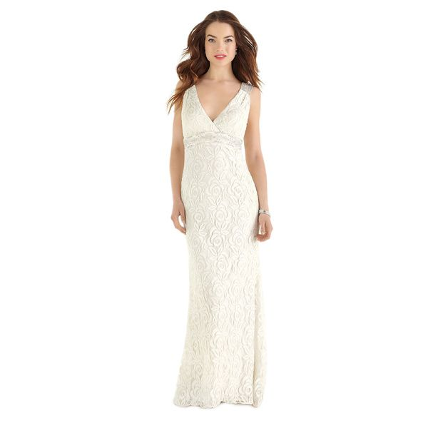 Dessy After Six Bridal Women\'s Full-length Guipure Lace Bridal Gown ...
