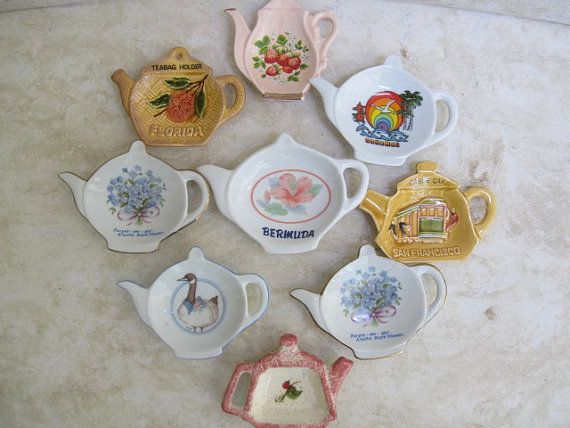 Vintage Porcelain Tea Bag Holder Collection Of 8 Etsy Tea Bag Holder Tea Holder Tea