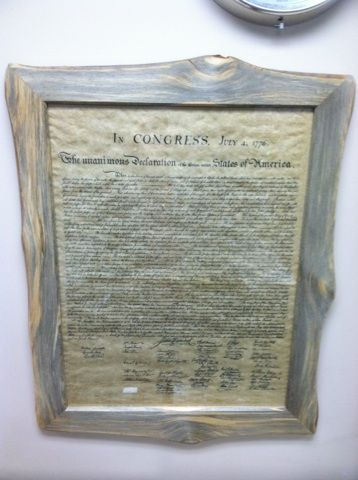 Rustic Red Pine frame around a replica of the Declaration of ...