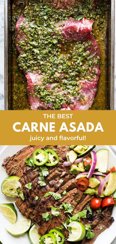 A delicious carne asada recipe made from marinated flank steak or skirt steak and grilled until tender and juicy. A great addition to any Mexican meal, this authentic recipe is made with olive oil, lime juice, garlic, cumin, oregano and other simple ingredients. #carneasada #skirtsteak #beef # Food and Drink health The Best Carne Asada