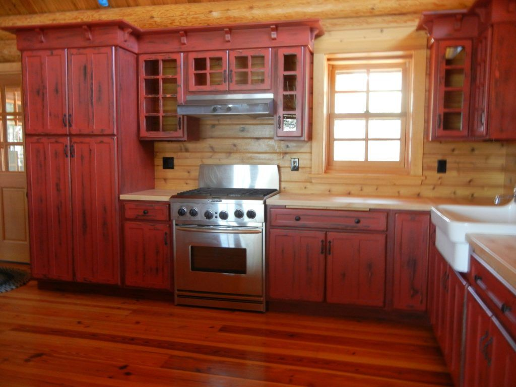 Log Cabin Red Kitchen Cabinets Red Kitchen Cabinets Rustic