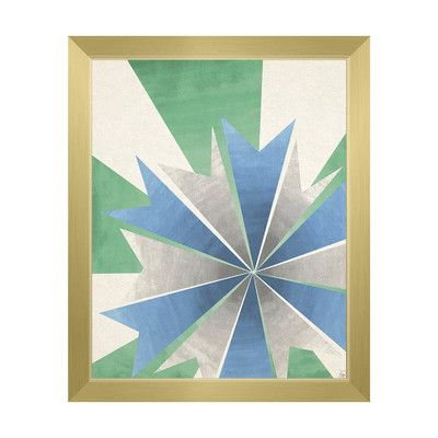 """Click Wall Art Radiant Umbrella Green and Blue Framed Graphic Art on Canvas Size: 22.5"""" H x 18.5"""" W x 1"""" D, Frame Color: Gold"""