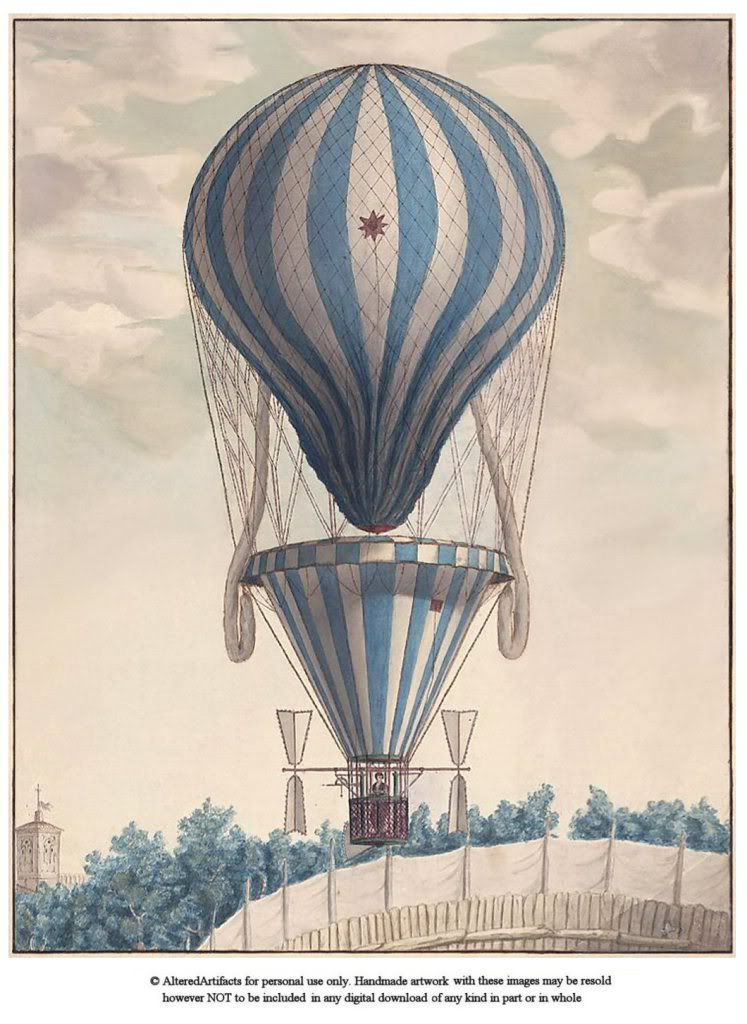 antique balloon clipart | ALTERED ARTIFACTS: Steampunk Antique Hot Air Balloon Free Printable