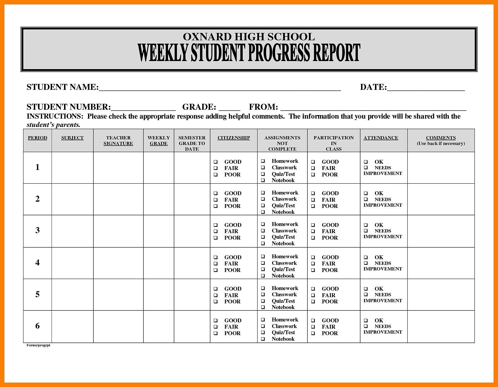5 Free Student Weekly Progress Report Template In 2020 Progress